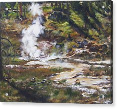Trail To The Artists Paint Pots - Yellowstone Acrylic Print