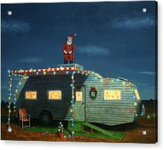 Trailer House Christmas Acrylic Print by James W Johnson