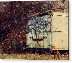 Trailer In The Woods Acrylic Print by David Blank