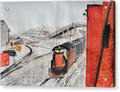 Train And Brick Wall With San Francisco Skyline Acrylic Print by Asha Carolyn Young