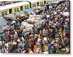 Train And Flower Market, Kolkata, India Acrylic Print by Peter Adams