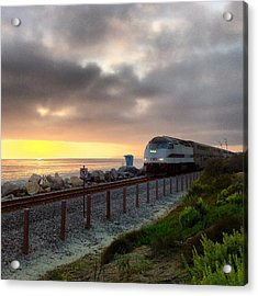 Train And Sunset In San Clemente Acrylic Print
