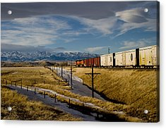 Train And The Crazies By Big Timber Montana Acrylic Print