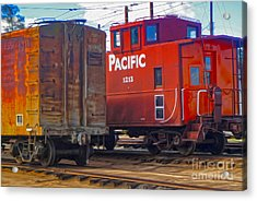 Train Car And Caboose Acrylic Print