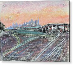 Train Coming At Sunset In West Oakland Acrylic Print by Asha Carolyn Young