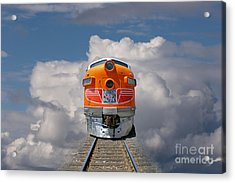 Train In Clouds Acrylic Print by Ron Sanford