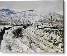 Train In The Snow At Argenteuil Acrylic Print by Claude Monet