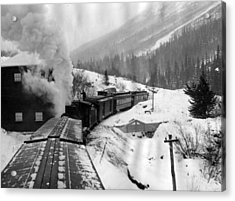 Train Ride Through The Snow Acrylic Print by Retro Images Archive