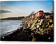 Train Speeding Through Whiterock Acrylic Print