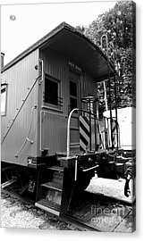 Train - The Caboose - Black And White Acrylic Print by Paul Ward