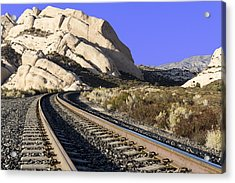 Railroad Tracks At The Mormon Rocks Acrylic Print