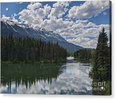 Train Window View Of Lake And Canadian Rockies Acrylic Print