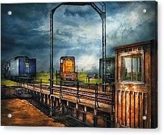 Train - Yard - On The Turntable Acrylic Print by Mike Savad