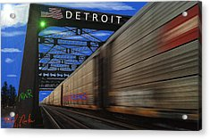 Trains Of Detroit Acrylic Print by Michael Rucker