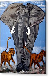 Acrylic Print featuring the painting Trampling Elephant by Nora Shepley