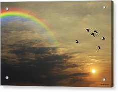Tranquil Sunset And Rainbow Acrylic Print by Jay Harrison