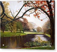 Tranquil Town Pond In East Hampton Acrylic Print by Barbara Barber