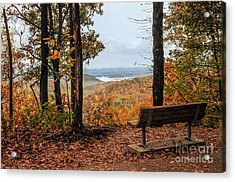 Acrylic Print featuring the photograph Tranquility Bench In Great Smoky Mountains by Debbie Green