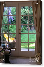 Tranquility Through French Doors Acrylic Print by Bev Conover
