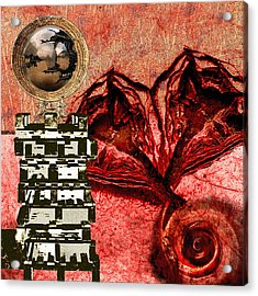 Transfusion Into A Wooden Heart Acrylic Print by Maria Jesus Hernandez