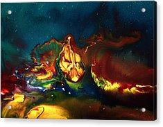Translucent Yellow Abstract Artwork-demon By Kredart Acrylic Print by Serg Wiaderny