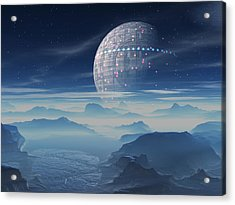 Tranus Alien Planet With Satellite Acrylic Print