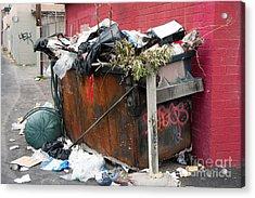 Acrylic Print featuring the photograph Trash Dumpster In Slums by Gunter Nezhoda