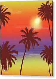 Travel Backgrounds With Palm Trees Acrylic Print