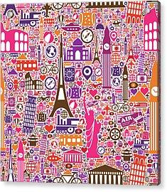 Travel Seamless Pattern Acrylic Print by Liana Monica Bordei