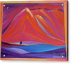 Acrylic Print featuring the painting Travelers Pink Mountains by First Star Art