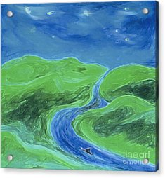 Acrylic Print featuring the painting Travelers Upstream By Jrr by First Star Art