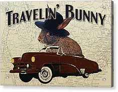 Travelin' Bunny Acrylic Print by Flo Karp
