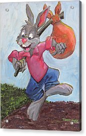 Traveling Rabbit Acrylic Print by Terry Lewey