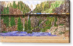 Acrylic Print featuring the painting Traveling The Rails Wall Mural by Alethea McKee