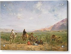 Travellers Resting At An Oasis Acrylic Print by Eugene Fromentin