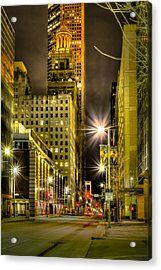 Travis And Lamar Street At Night Acrylic Print by David Morefield
