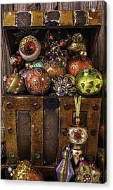 Treasure Box With Christmas Ornaments Acrylic Print by Garry Gay