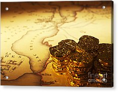 Treasure Map And Doubloons Acrylic Print by Colin and Linda McKie