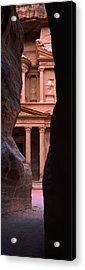 Treasury Through The Rocks, Petra, Wadi Acrylic Print