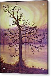 Tree In Gold Landscape Acrylic Print by Jan Wendt