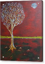 Acrylic Print featuring the painting Tree In Moonlight by Zeke Nord