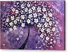 Tree In Purple Acrylic Print by Mariana Stauffer