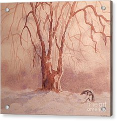 Tree In Snow Acrylic Print