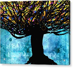 Tree Of Life Blue And Yellow Acrylic Print by Ann Powell