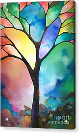 Original Art Abstract Art Acrylic Painting Tree Of Light By Sally Trace Fine Art Acrylic Print