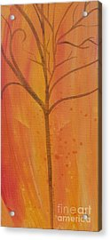Acrylic Print featuring the painting Tree Of Three Coral by Robin Maria Pedrero