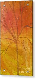 Acrylic Print featuring the painting Tree Of Three Gold by Robin Maria Pedrero