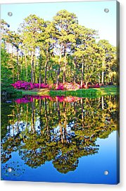 Tree Reflections And Pink Flowers By The Blue Water By Jan Marvin Studios Acrylic Print