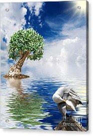 Tree Seagull And Sea Acrylic Print