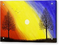 Tree Silhouette At Sunset Painting Acrylic Print by Keith Webber Jr